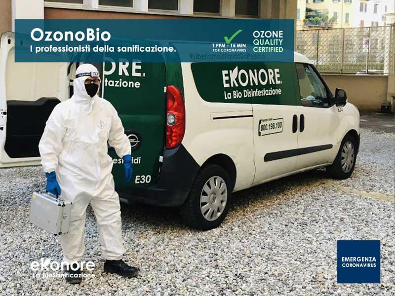 Professionisti della sanificazione e disinfezione ad ozono da coronavirus